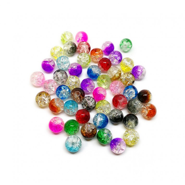 2-tone Crackle Lampwork Glass Round Beads 8 mm