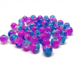 2-tone Crackle Lampwork Glass Round Beads 8 mm - Blue & Pink