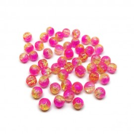2-tone Crackle Lampwork Glass Round Beads 8 mm - Yellow & Pink