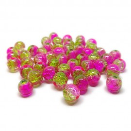 2-tone Crackle Lampwork Glass Round Beads 8 mm - Pink & Green