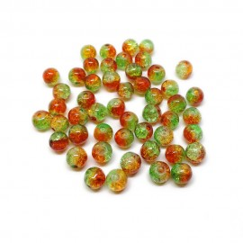 2-tone Crackle Lampwork Glass Round Beads 8 mm - Green & Orange