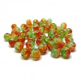 2-tone Crackle Lampwork Glass Round Beads 8 mm - Green & Orange