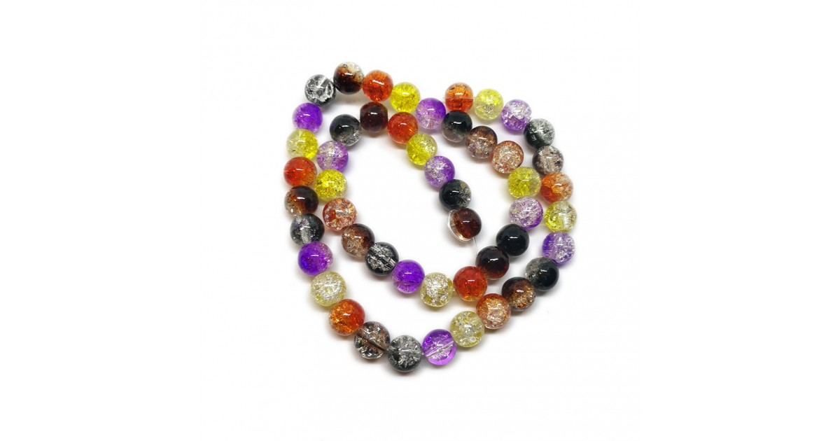 2-tone Crackle Lampwork Glass Round Beads 8 mm - Halloween Colors