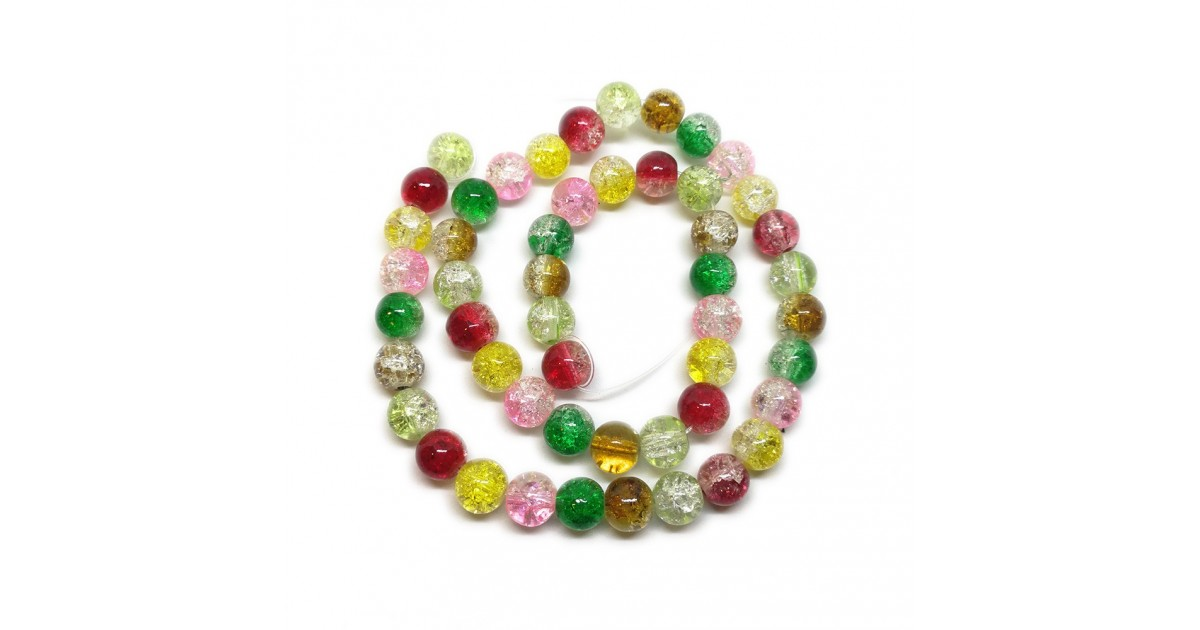 2-tone Crackle Lampwork Glass Round Beads 8 mm - Christmas Colors