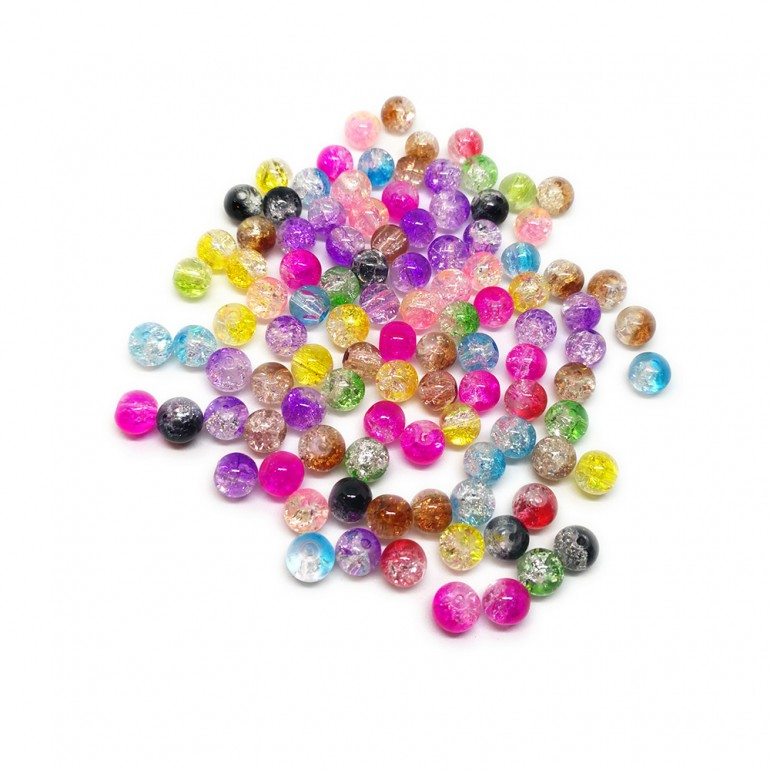 2-tone Crackle Lampwork Glass Round Beads 6 mm
