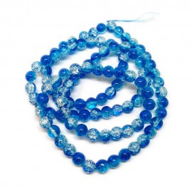 Strand of 2-tone Crackle Lampwork Glass Round Beads 8 mm - Blue