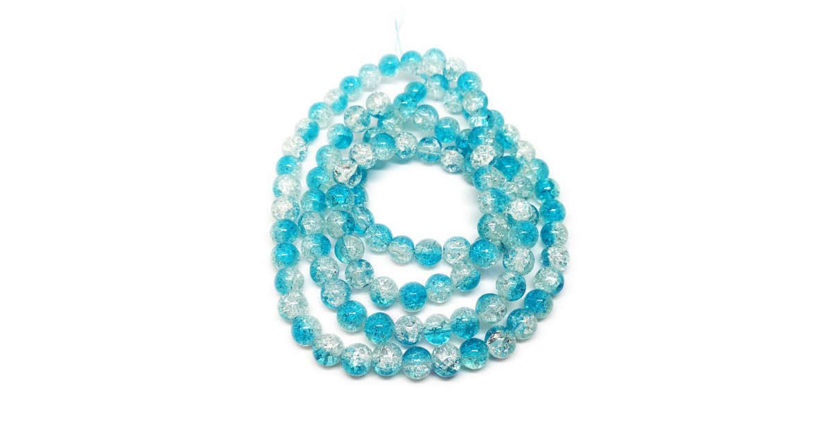 Strand of 2-tone Crackle Lampwork Glass Round Beads 8 mm - Light Blue