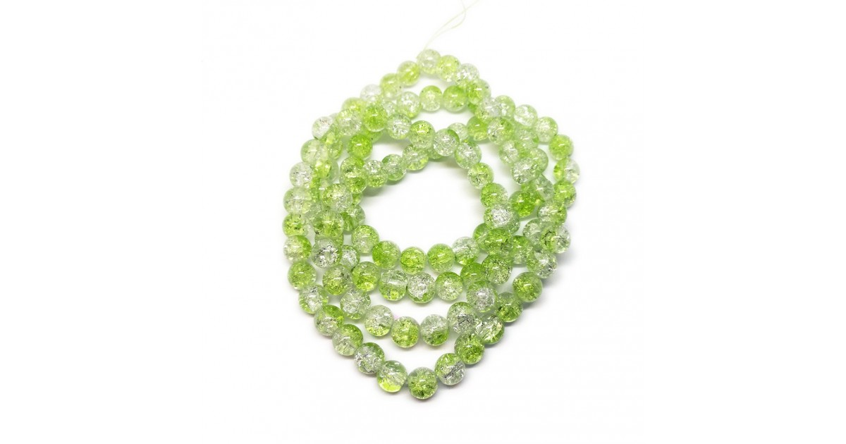 Strand of 2-tone Crackle Lampwork Glass Round Beads 8 mm - Light Green