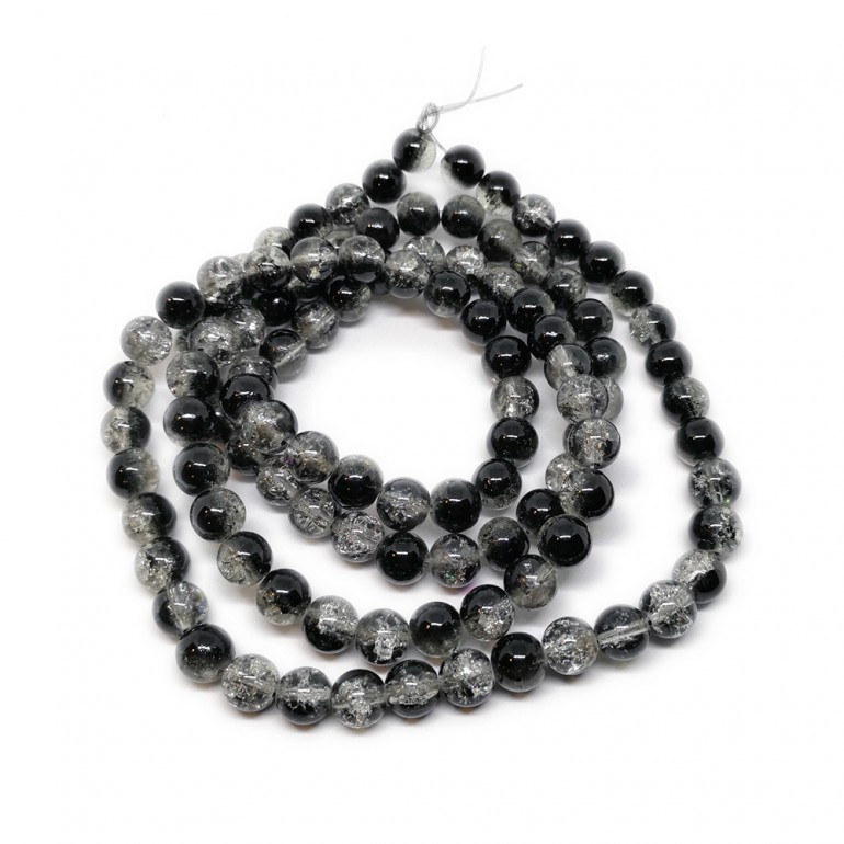 Strand of 2-tone Crackle Lampwork Glass Round Beads 8 mm - Black