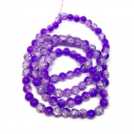 Strand of 2-tone Crackle Lampwork Glass Round Beads 8 mm - Purple Blue