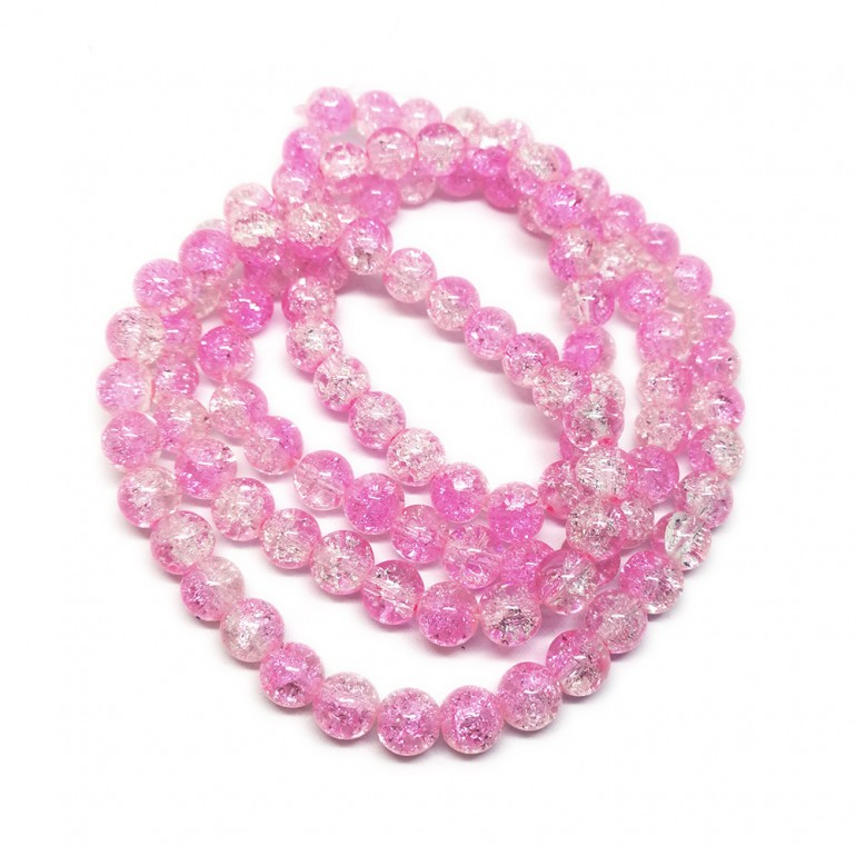 Strand of 2-tone Crackle Lampwork Glass Round Beads 8 mm - Pink