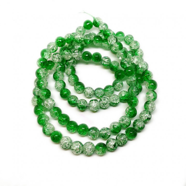 Strand of 2-tone Crackle Lampwork Glass Round Beads 8 mm - Green