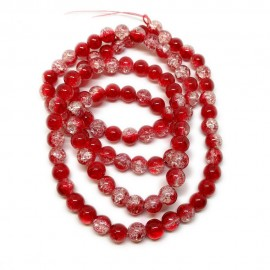 Strand of 2-tone Crackle Lampwork Glass Round Beads 8 mm - Red
