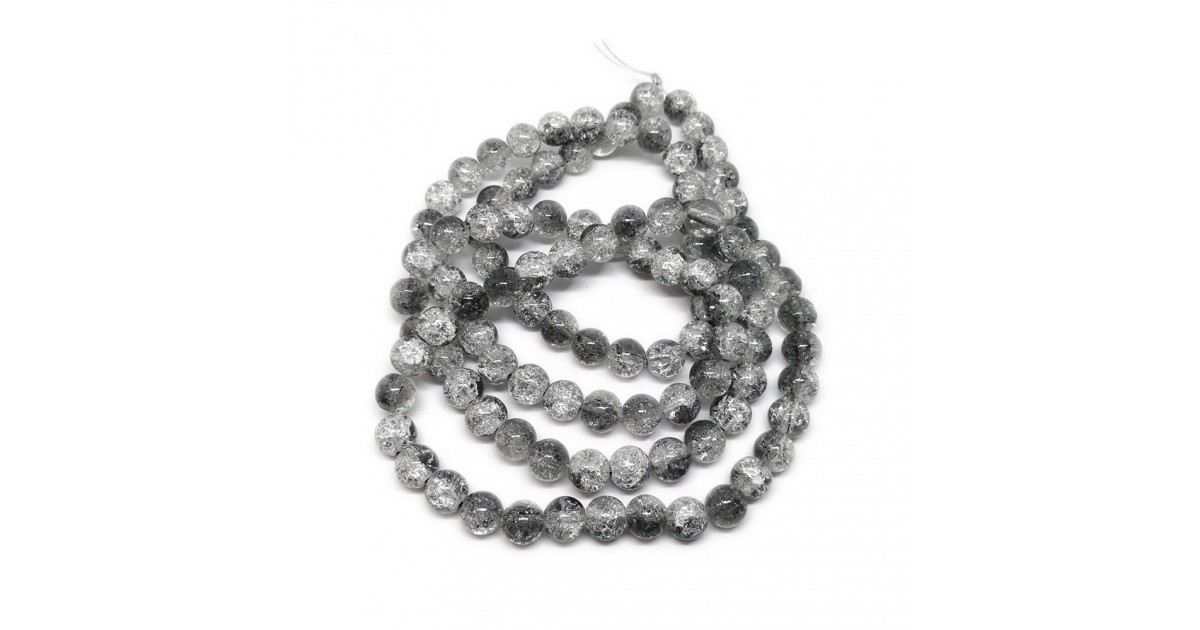 Strand of 2-tone Crackle Lampwork Glass Round Beads 8 mm - Grey