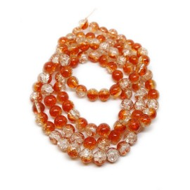 Strand of 2-tone Crackle Lampwork Glass Round Beads 8 mm - Orange