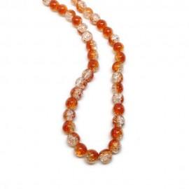 Strand of 2-tone Crackle Lampwork Glass Round Beads 8 mm - Orange