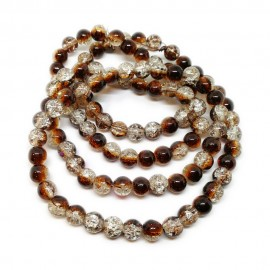 Strand of 2-tone Crackle Lampwork Glass Round Beads 8 mm - Brown