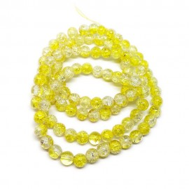 Strand of 2-tone Crackle Lampwork Glass Round Beads 8 mm - Yellow