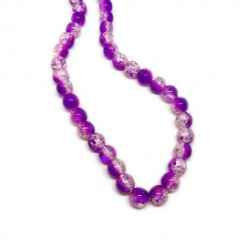 Strand of 2-tone Crackle Lampwork Glass Round Beads 8 mm - Purple