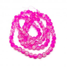 Strand of 2-tone Crackle Lampwork Glass Round Beads 8 mm - Hot Pink