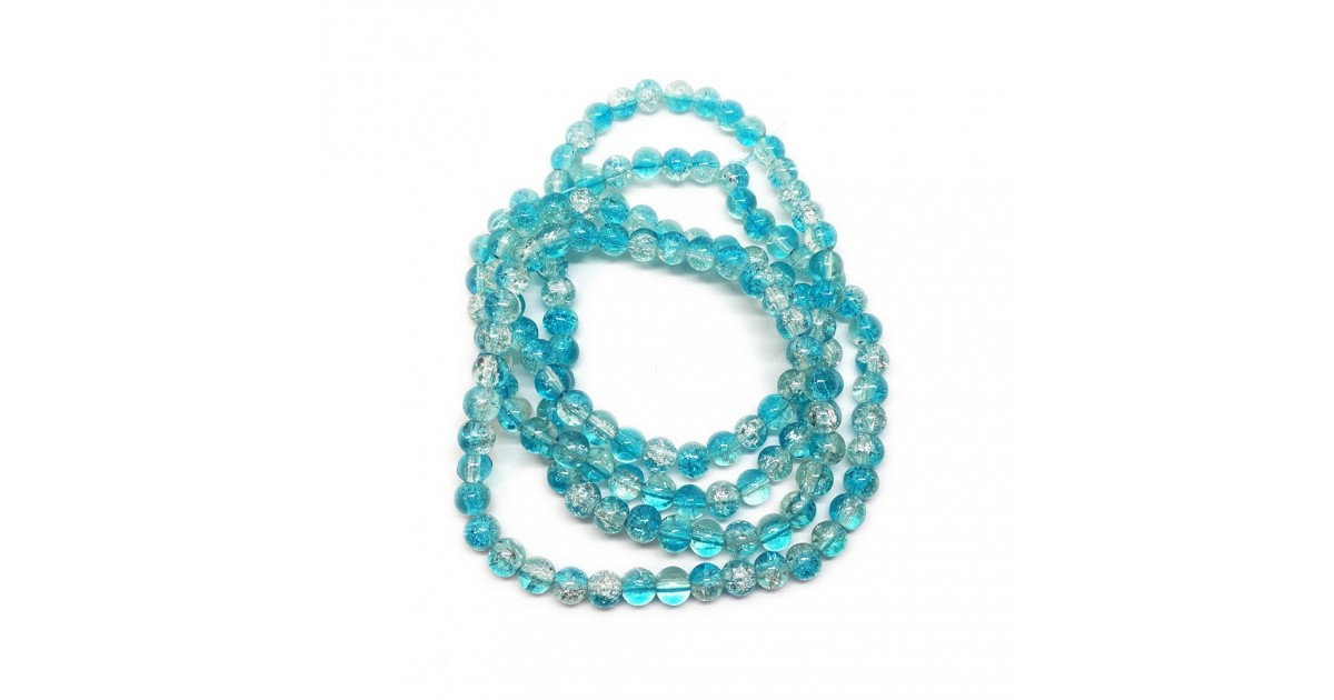 Strand of 2-tone Crackle Lampwork Glass Round Beads 6 mm - Light Blue