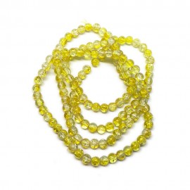 Strand of 2-tone Crackle Lampwork Glass Round Beads 6 mm - Yellow