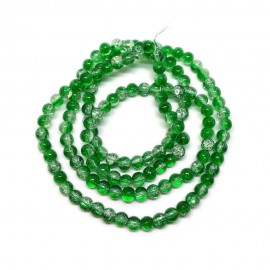Strand of 2-tone Crackle Lampwork Glass Round Beads 6 mm - Green