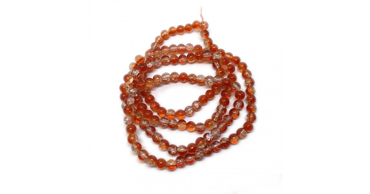 Strand of 2-tone Crackle Lampwork Glass Round Beads 6 mm - Orange