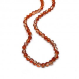 Strand of 2-tone Crackle Lampwork Glass Round Beads 6 mm - Orange
