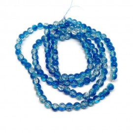 Strand of 2-tone Crackle Lampwork Glass Round Beads 6 mm - Blue