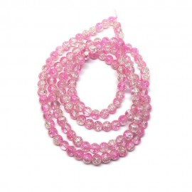 Strand of 2-tone Crackle Lampwork Glass Round Beads 6 mm - Pink