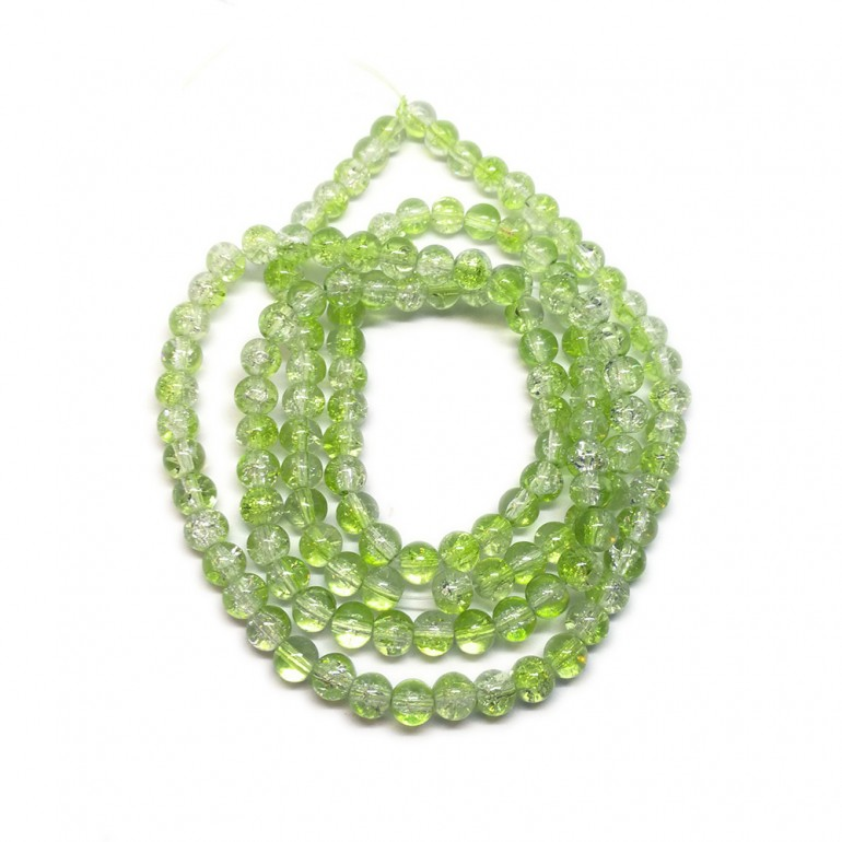 Strand of 2-tone Crackle Lampwork Glass Round Beads 6 mm - Light Green