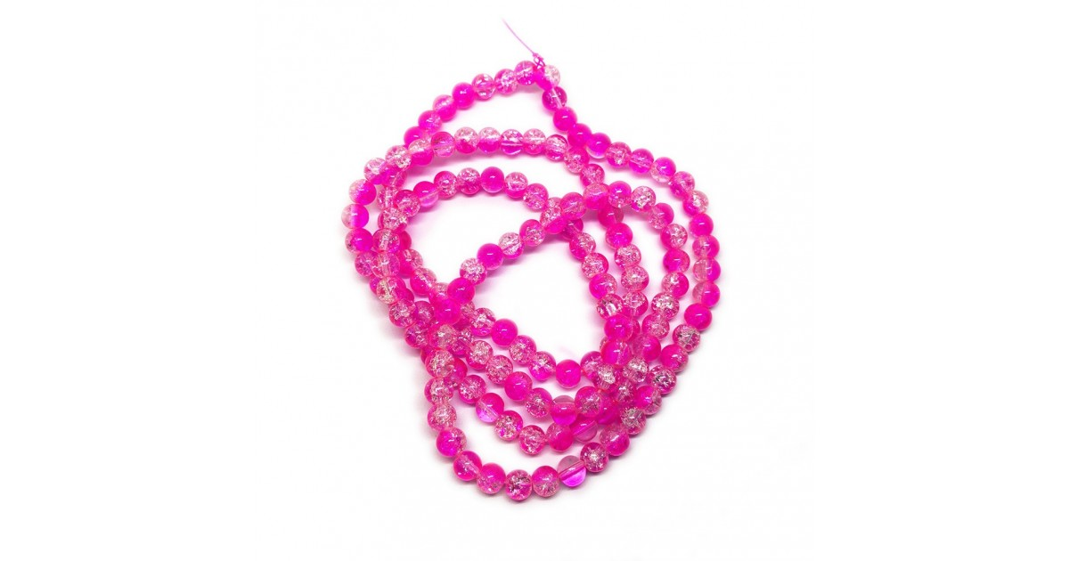 Strand of 2-tone Crackle Lampwork Glass Round Beads 6 mm - Hot Pink