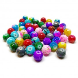Artistic Marble Design Lampwork Glass Round Beads - Assorted-Colors