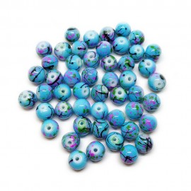 Artistic Marble Design Lampwork Glass Round Beads - Blue