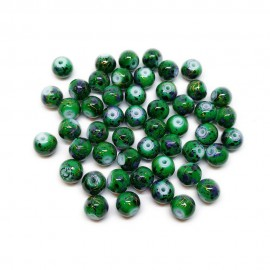 Artistic Marble Design Lampwork Glass Round Beads - Forest Green