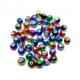 Artistic Holiday Metallic Designs Lampwork Glass Round Beads