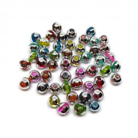 Artistic Silver Cap Design Lampwork Glass Round Beads