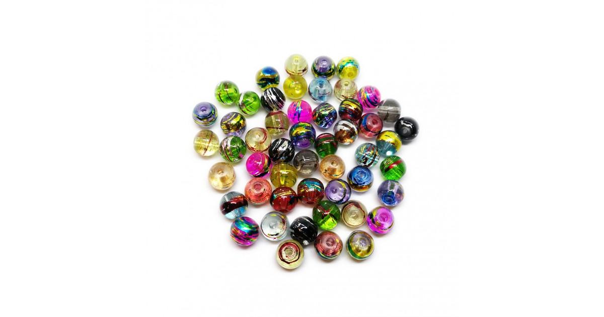 Artistic Swirl Speckle Design Lampwork Glass Round Beads