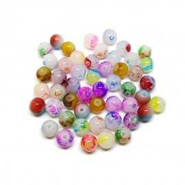 Artistic Doodle Designs Lampwork Glass Round Beads