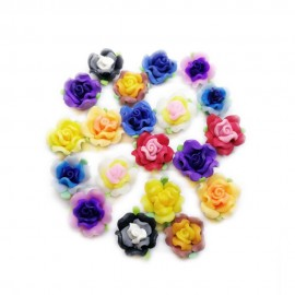 Polymer Clay Leafy Rose Beads - Assorted