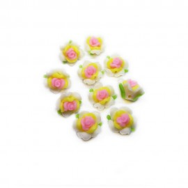 Polymer Clay Leafy Rose Beads - White