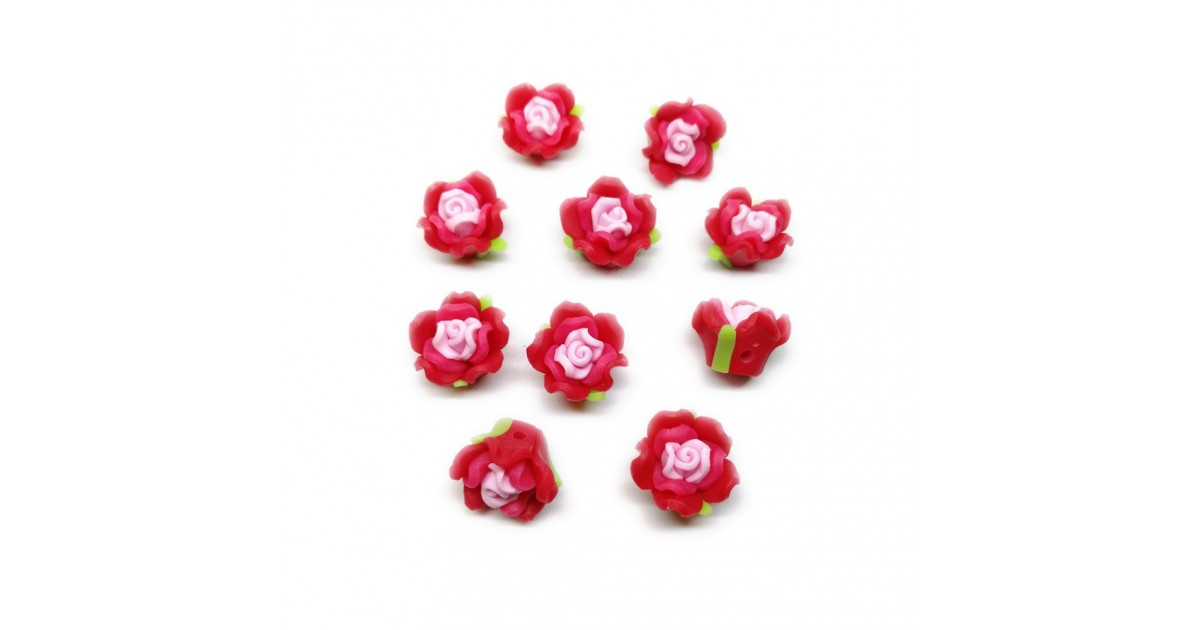 Polymer Clay Leafy Rose Beads - Red