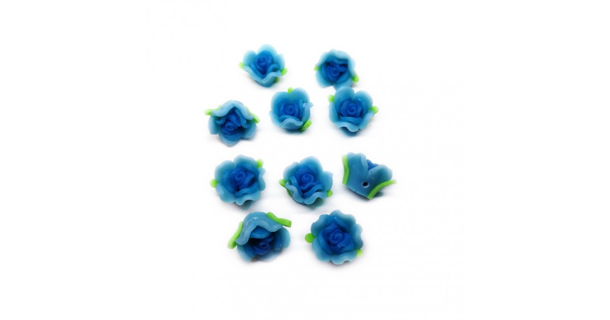 Polymer Clay Leafy Rose Beads - Blue