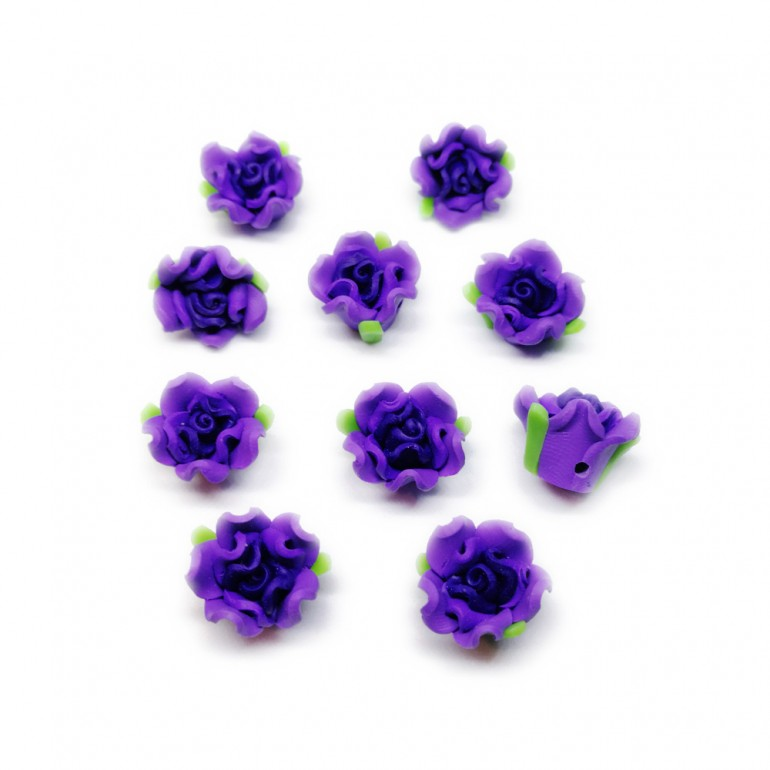 Polymer Clay Leafy Rose Beads - Dark Purple