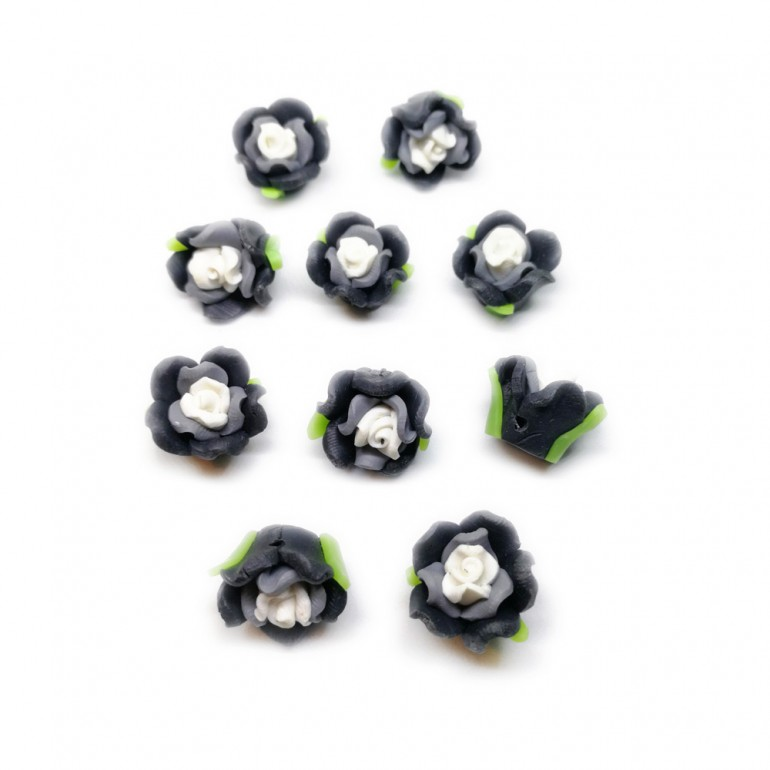 Polymer Clay Leafy Rose Beads - Grey