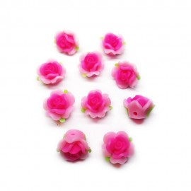 Polymer Clay Leafy Rose Beads - Pink
