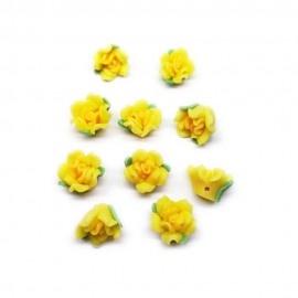 Polymer Clay Leafy Rose Beads - Yellow