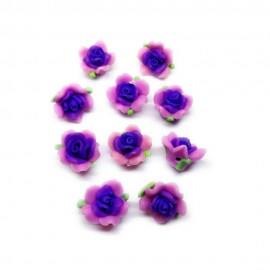 Polymer Clay Leafy Rose Beads - Purple