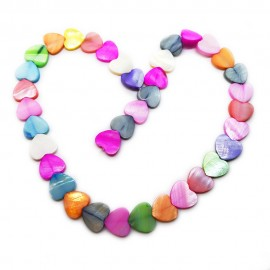 Strand of Mother of Pearl Shell Heart Beads 8 mm